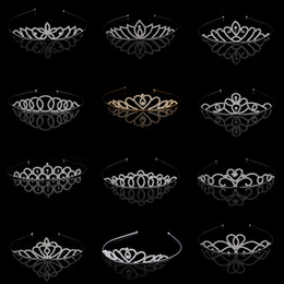 Fille Cheveux Accessoires Fleurs Pas Cher-Superbe princesse Mariage Mariée Fleur Filles Crystal Rhinestone Headband Tiara Hair Band Kid Girl Birthday Party Accessoires pour cheveux