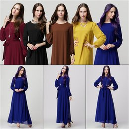 Vêtements Modernes Pour Femmes Pas Cher-Musulman Long Manches Vêtements Pour Les Femmes Femmes Juniors 2017 Hijab Mousseline de Soie Maxi Formelle Causaul Travail Party Club Arabe Moderne Robes de Cocktail