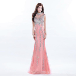 Chinese  2017 Sparkly Coral High Neck Beaded Long Evening Dress Elegant Women Sequins Crystal Prom Party Gown Formal Occasion Wear manufacturers