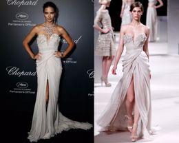 $enCountryForm.capitalKeyWord Canada - 2016 Cannes White Evening Dresses Long Chiffon Patterns Sexy Split Evening Dresses Plus Size Formal Celebrity Dresses Moroccan Kaftan