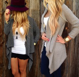 Wholesale long black sweater plus size resale online - 2015081407 Plus Size Knitted Cardigan Feminino Female Cardigans Women Solid Irregular sueter Oversized Long Cardigan Women Sweater