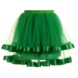 Ingrosso Jane Vini Gonne corte Ball Gowns Petticoat 2 strati Tulle bordo raso Sottogiacca per Party Dress Ruffles Tutù Balletto Underskirt 2018