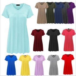 Discount new women summer fashion tops - T Shirts Summer Casual Shirts Women Fashion Loose Tops Sexy V Neck Blouse Short Sleeve Solid Blusas Cotton New Tees Wome