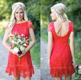 Full Length Red Backless Dress Canada - 2016 Red Full Lace Short Knee Length Bridesmaid Dresses Cheap Country Style Crew Neck Cap Sleeves Mini Backless Bridesmaids Dresses