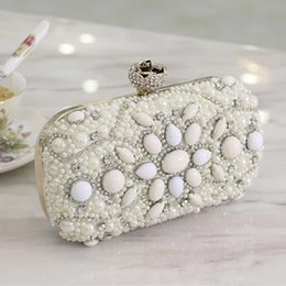 beads handbags UK - Bridal One Luxury Evening Bags Crystals Mini 2016 Bag Beads Wedding Clutches Purse Newest Wallets Handbags Brides Shoulder Gwmnx