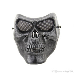China Full face silver masquerade Airsoft mascara terror Skull mask Warrior armor carnival Paintball biker mask scary Halloween Horror Mask cheap paintball full face skull mask suppliers