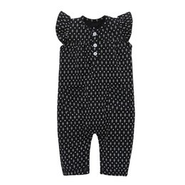 toddler clothing sizes 2018 - 2017 Girls Baby Jumpsuits Summer Fly Sleeve Babies Onesies Clothing Black Toddler Romper Cute Infant Rompers Boutique Cl