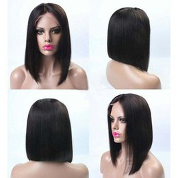 Half Lace Wig Brazilian Hair Australia - Short Full Lace Human Hair Wigs Straight Brazilian Lace Front Bob Wigs For Black Women Glueless Full Lace Wigs With Baby Hair