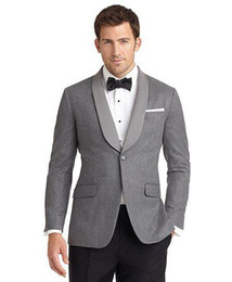 classic gray groom suit Canada - Custom made two pieces Color process gray wedding suits groom tuxedos men's dress classic groom tuxedos wedding suits