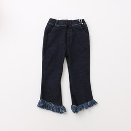 Barato Calca Cargo-Everweekend Kids Girls Casual Pockets Tassels Denim Long Pants Novo Baby Jeans Elastic Waist Pants para 2-7Y Crianças