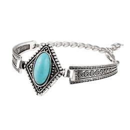 Green Day Charm Bracelet Canada - Triangle Turquoise bracelets fashion jewelry big green turquoise charm bracelets retro bracelet silver plated bangle TB0009