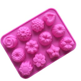China Flowers Stars Silicone Flower shape Muffin case Candy Jelly Ice cake Silicone Mould Mold Baking Pan Tray 15-cavity per Sheet Free Shipping suppliers