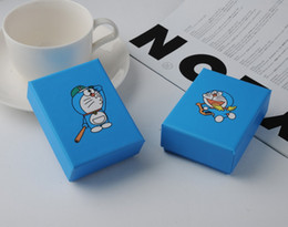 Doraemon box online shopping - Simple Seven Sky Blue Jewelry Box Doraemon Bracelet Box Lovely Comic Necklace Package Cartoon Pendant Case