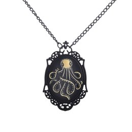 $enCountryForm.capitalKeyWord UK - Creative Black Frame Animal Pendant Necklace Vintage Punk Lovely Octopus Animal Necklace Women's and Men's Jewelry Souvenir Gift For Girls