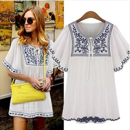 e09d77b055c8b7 Free Shipping Plus Size Women 2017 Fashion Short Sleeve Round Neck  Embroidered Chiffon Boho Hippie Peasant Mexican Blouse