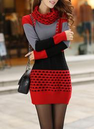 $enCountryForm.capitalKeyWord NZ - Cotton Blends Color Block Long Sleeve High Neckline Above Knee Casual Sweaters Dresses