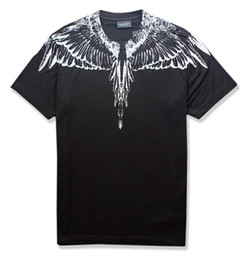 Silver t ShirtS online shopping - ss new Marcelo Burlon T Shirt Men Milan Feather Wings T Shirt Men Women Couple Fashion Show RODEO MAGAZINE T Shirts Goros camisetas