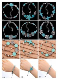 $enCountryForm.capitalKeyWord NZ - High grade women's DIY European Beads Charm Bracelet EMTQB2,star hollow Tibetan silver turquoise bracelet 12 pieces a lot mixed style