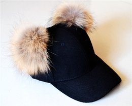 Baseball Cap Pom Canada - Cotton baseball cap with two Pom Pom faux fur hats  unisex 50bc4eac6d5