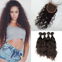 Best quality virgin human hair online shopping - Best Quality Bundles With Lace Closures Indian Virgin Hair Water Wave Human Hair Bundles With Closure G EASY Hair
