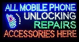 Heißer Verkauf 15,5X27,5 zoll indoor Ultra Helle blinkende reparaturen alle handy entsperren zubehör business shop zeichen von led-