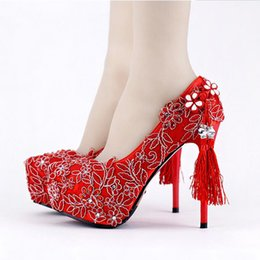 Red Lace Wedding Shoes Chinese Style Handmade High Heeled Bridal Shoes Satin  Cheongsam Dress Shoes Women Party Pumps Tassel fd85882be1cb