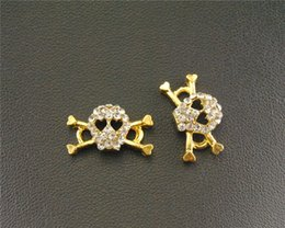 skull plates NZ - 20 pcs Gold Plated Rhinestone Halloween Skull Charm Connector Jewelry for Bracelet 9x18mm RS481