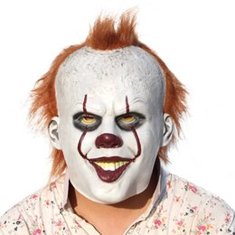 Caliente Payaso Halloween Baratos-2017 Película caliente Stephen King It Joker Pennywise Máscara Full Face Horror Payaso Latex Halloween Party Hoorible Máscaras Cosplay Prop c205
