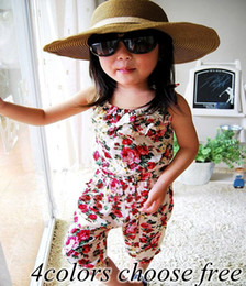 Chinese  INS Girls Floral Jumpsuit Suspender Trousers Pant 100% Cotton Flower Print Kids Summer Outfit baby clothes 3-8years choose size free ship manufacturers