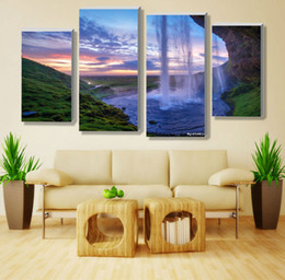 Modern Waterfall Definition Pictures Canvas Prints Home Decoration Living Room Wall Modular Painting Print Cuadrosno Frame4pcs W 0002