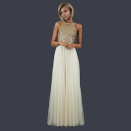 Discount sample prom dresses - Real Sample 2017 Fashion Cheap Champagne Gold Sequins Prom Dress Gowns Long 2016 Ruched Tulle Backless Women Formal Dres