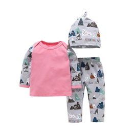$enCountryForm.capitalKeyWord Canada - Baby Triangle Long Sleeves Tee+Pants+Hats Outfits 2019 Fall Infant Home Clothes Euro America 0-3T Little Boys 3 PC Set