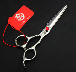 Hair Shears Children NZ - 545# 6 Inch Brand Purple Dragon Red Gem TOP GRADE Hairdressing Scissors JP 440C Home Salon Barbers Cutting Scissors Hair Shears