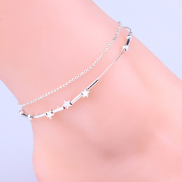 $enCountryForm.capitalKeyWord Canada - 2016 new Sexy star ankle bracelets beach jewelry 925 Sterling silver Double layers anklets jewelry for Women Boot Foot Jewelry