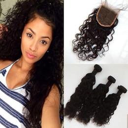 $enCountryForm.capitalKeyWord NZ - Water Wave 1 Piece Lace Closure With Malaysian Virgin Hair 3 Bundles Total 4PCS Lot 100% Unprocessed Human Hair G-EASY