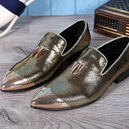 Discount black boat dress shoes mens - Luxury Mens Leather Shoes Leisure Fashion Designer Metal Toe Charm Slip On Flat Shoes For Mens Party Shoes Boat Loafer S