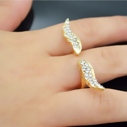 Animal Wings Ring Canada - jewelry gold plated alloy punk Studded with full of rhinestone bird eagle ring Hawk Angel wings ring opening rings for women 2017 j205
