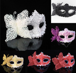 Halloween Costumes White Lady Canada - Venetian Masquerade Halloween Costumes Party Butterfly Lace Mask Half-face Beautiful Princess Mask Dance Party Colorful Ladies Mask