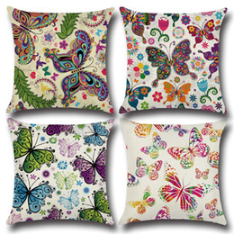 H Case Australia - Printing Pillow Cover w  Butterfly Pattern 45x45cm Cotton & Linen Pillow case Throw Pillow Cushion Case Home Decorative Pillowcase h-0045