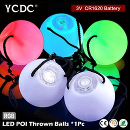 Barato Levou Poi Atacado-Atacado- 1pc Colorido RGB LED Bulbo Stage Light Party Lamp Disco Color Change POI Bolas jogadas Professional Belly Party Dance