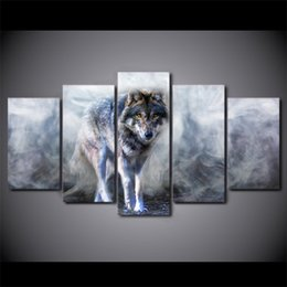 Art Canvas Prints Australia - 5 Pcs Set Framed HD Printed Wolf Animal White Smoke Wall Photo Canvas Print Poster Asian Modern Art Oil Paintings Pictures
