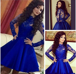 Teen prom dresses shorT online shopping - 2018 Stylish Royal Blue Long Sleeves Homecoming Dresses Vintage Short Prom Dresses for Teens Formal Dresses Gowns