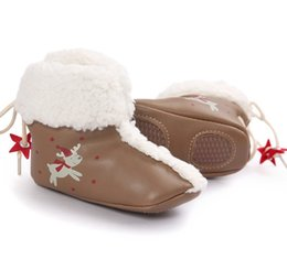 Semelles En Caoutchouc Pour Chaussures Pour Enfants Pas Cher-2016 New Cute Christmas Lovely Newborn Baby 0-2 ans First Walkers Boot Enfant Toddler Boys Girls Kids Chaussures à chaussures en caoutchouc souple