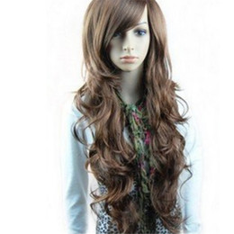 Womens Wigs Canada - WoodFestival sexy womens girls fashion fiber synthetic hair wigs long curly big wave full wigs 26 inches