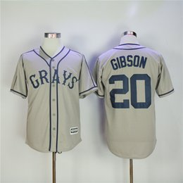 Barato Botões Para Barato-Homens 20 Josh Gibson Homestead Grays Negro League Button Down Jersey 100% Stitched Bordados Logos Throwback Baseball T-Shirts Cheap Grey