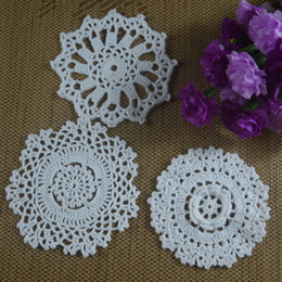 coasters cup mats disc Canada - 30pcs 8-13cm Crocheted Doilies Placemats for Wedding Crochet applique decor White Tablecloth mats Vintage Coaster Pads Disc Cup Mat aa3h2
