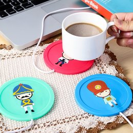 Mats Cartoon Canada - Wholesale- Cartoon Mats & Pads Vacuum Coasters Thermal insulation plate USB silicone warm cup device