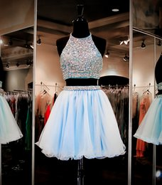 Robes Formelles Courtes Pas Cher-Light Sky Blue Deux pièces 2017 Homecoming Robes Bling Bling Crystal Beading Formal Party Graduation Dress Short Longueur mini
