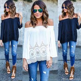 Cotton T Shirts Lace Canada - 2016 Collar long-sleeved chiffon Blouses lace shirts Cotton hollow strapless long sleeve Slash Neck T-shirt woman's dress