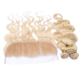 $enCountryForm.capitalKeyWord NZ - Rusian 613 Blonde 13x4 Lace Frontal Closure With Weaves 4Pcs Lot Bleach Blonde Virgin Russian 3Bundles Hair With 1Pc Body Wave Lace Frontal